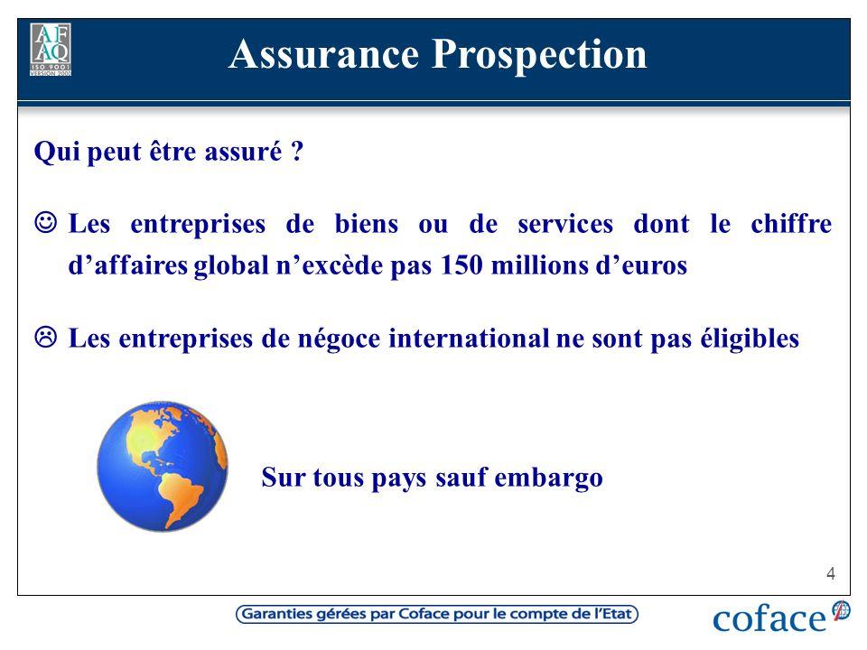 Assurance Prospection Sur tous pays sauf embargo