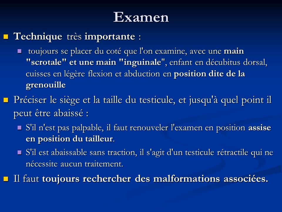 Examen Technique très importante :