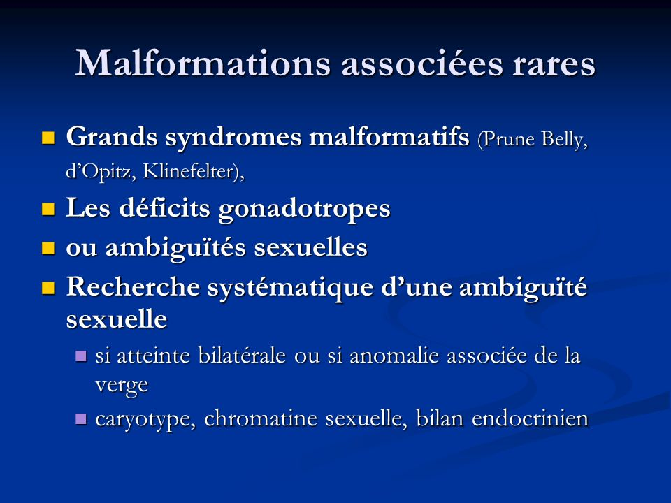 Malformations associées rares