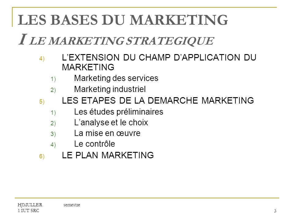 LES BASES DU MARKETING I LE MARKETING STRATEGIQUE