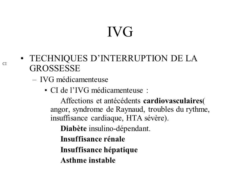 IVG TECHNIQUES D'INTERRUPTION DE LA GROSSESSE IVG médicamenteuse