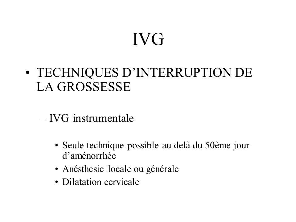 IVG TECHNIQUES D'INTERRUPTION DE LA GROSSESSE IVG instrumentale