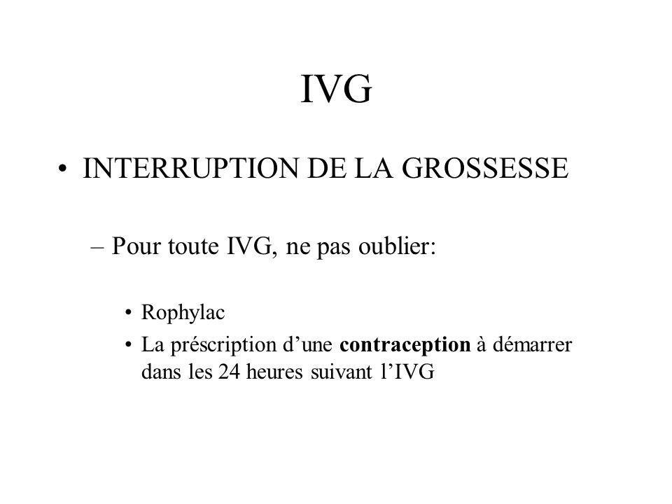 IVG INTERRUPTION DE LA GROSSESSE Pour toute IVG, ne pas oublier: