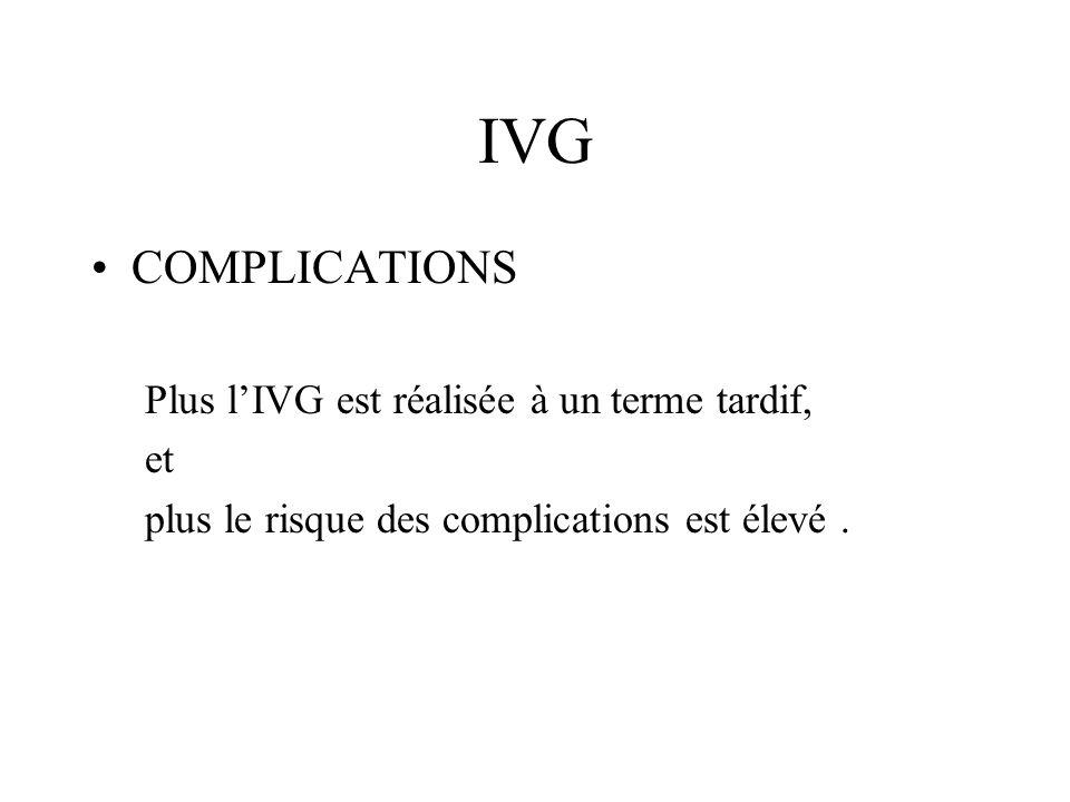 IVG COMPLICATIONS Plus l'IVG est réalisée à un terme tardif, et