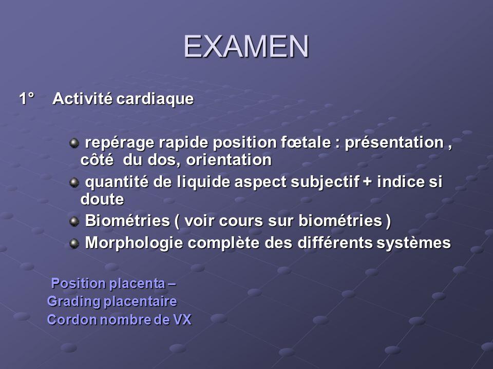 EXAMEN 1° Activité cardiaque