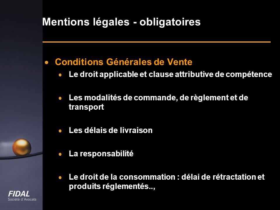 Mentions légales - obligatoires