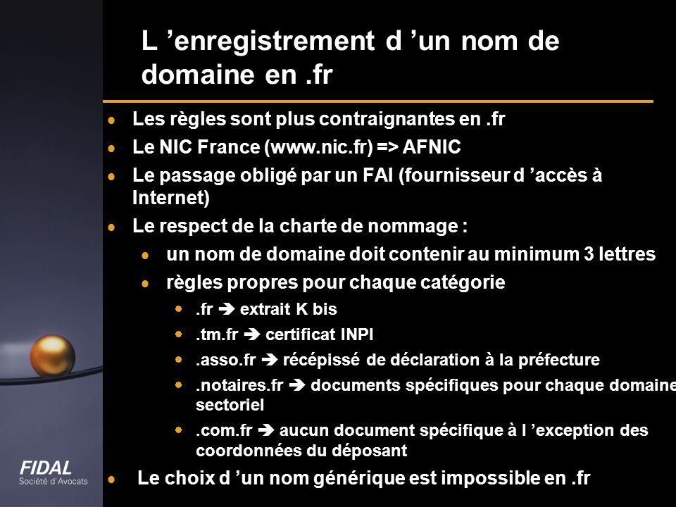 L 'enregistrement d 'un nom de domaine en .fr