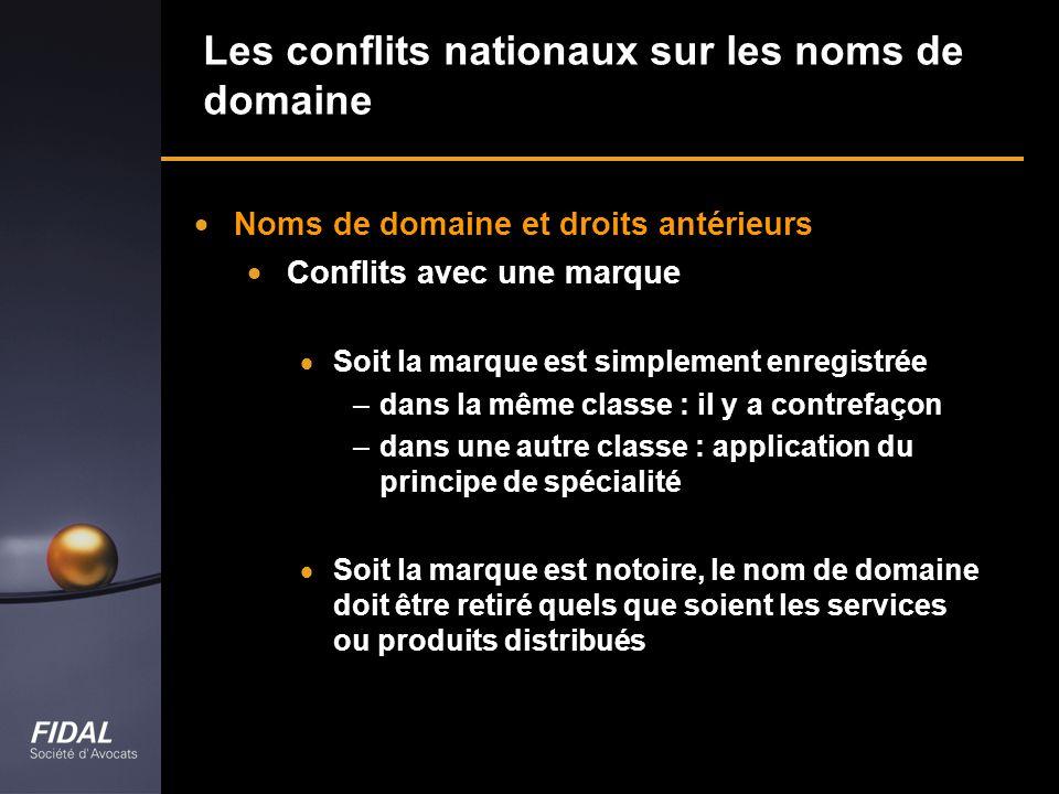 Les conflits nationaux sur les noms de domaine
