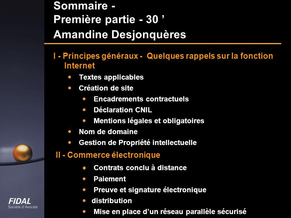Sommaire - Première partie - 30 ' Amandine Desjonquères