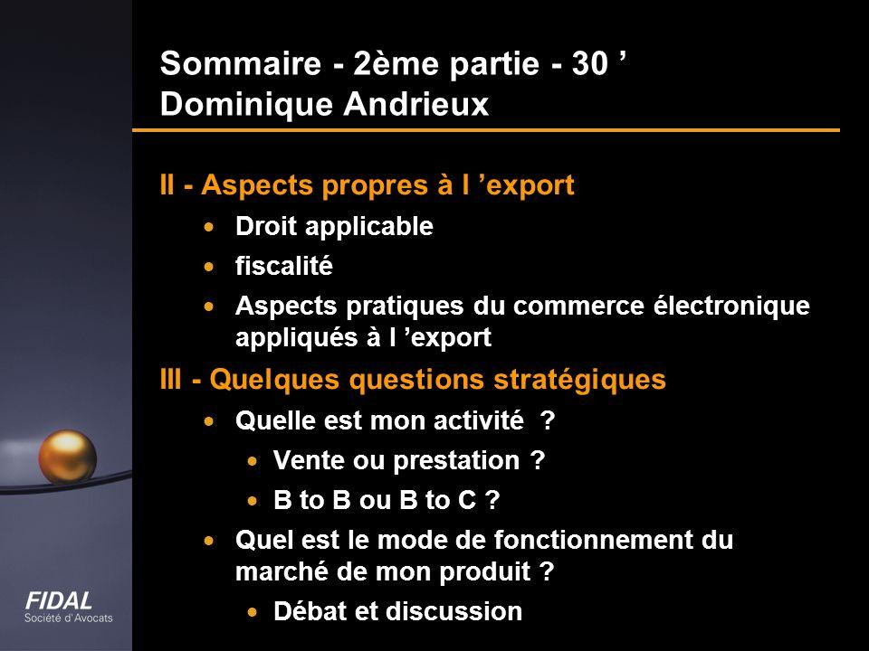 Sommaire - 2ème partie - 30 ' Dominique Andrieux