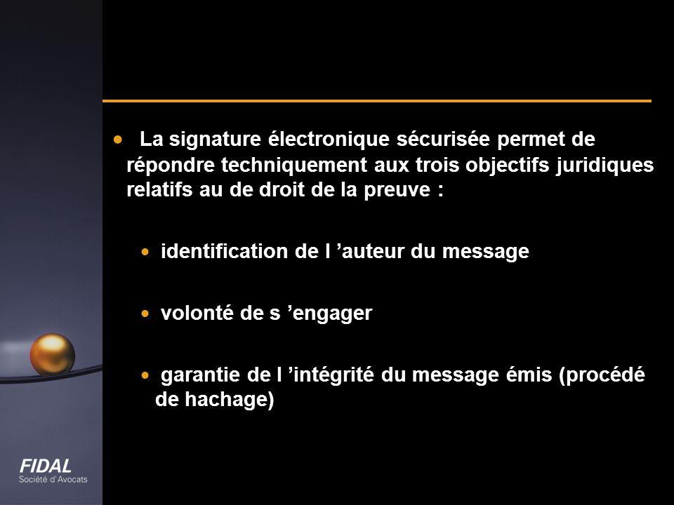La signature électronique sécurisée permet de répondre techniquement aux trois objectifs juridiques relatifs au de droit de la preuve :