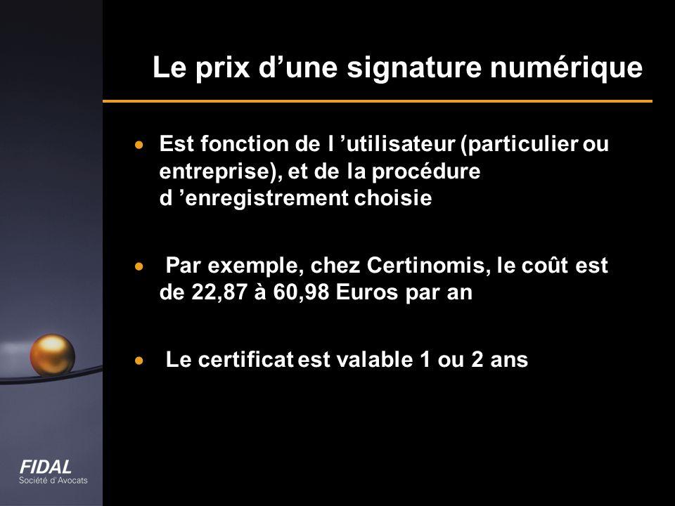Le prix d'une signature numérique