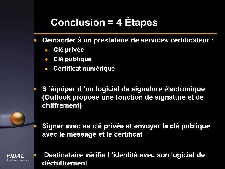 Conclusion = 4 Étapes Demander à un prestataire de services certificateur : Clé privée. Clé publique.
