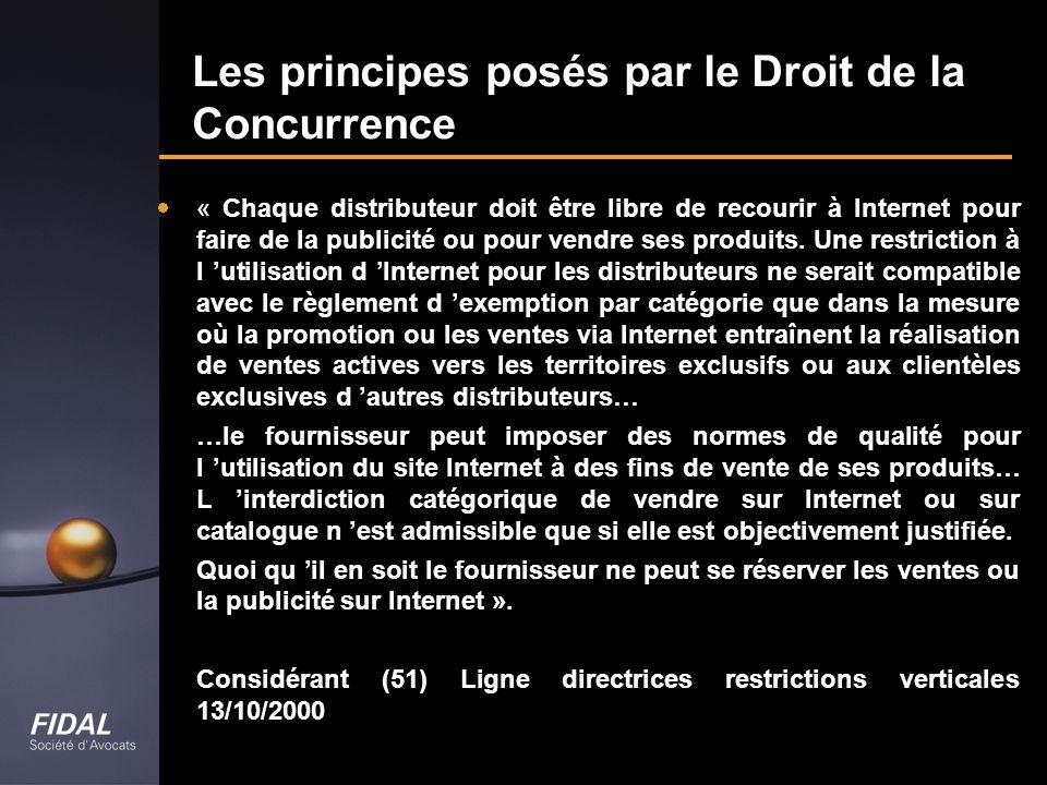 Les principes posés par le Droit de la Concurrence
