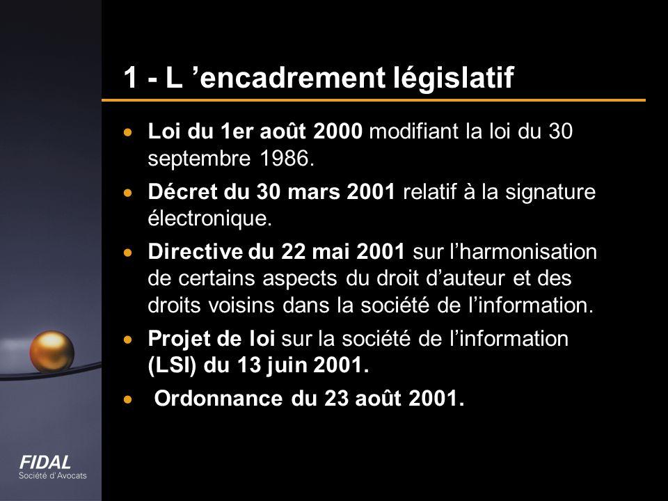 1 - L 'encadrement législatif