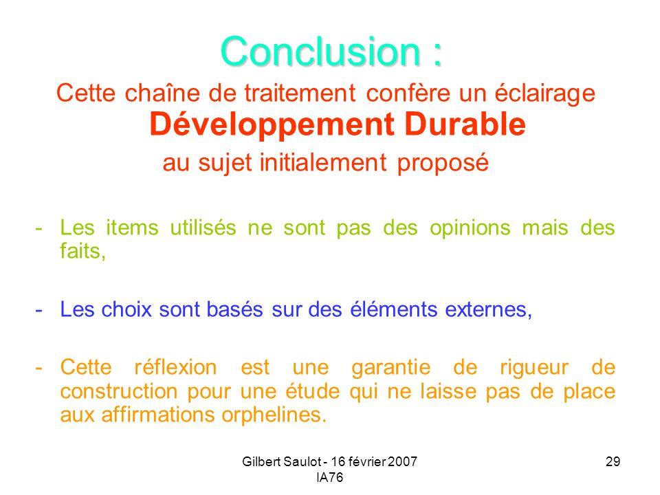 Conclusion : Cette chaîne de traitement confère un éclairage Développement Durable. au sujet initialement proposé.