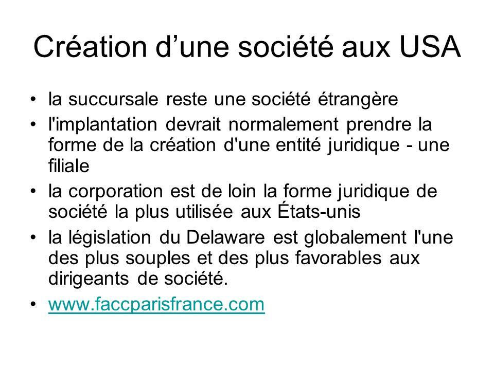 Création d'une société aux USA