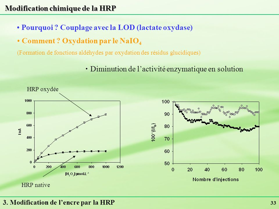 Modification chimique de la HRP