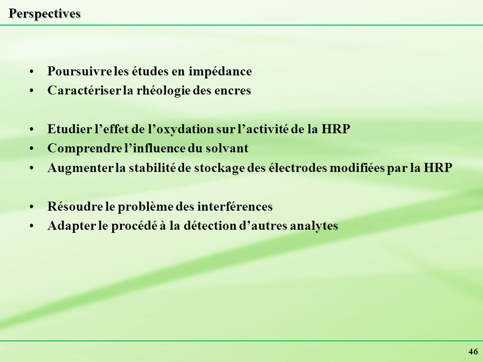 Perspectives Poursuivre les études en impédance. Caractériser la rhéologie des encres. Etudier l'effet de l'oxydation sur l'activité de la HRP.