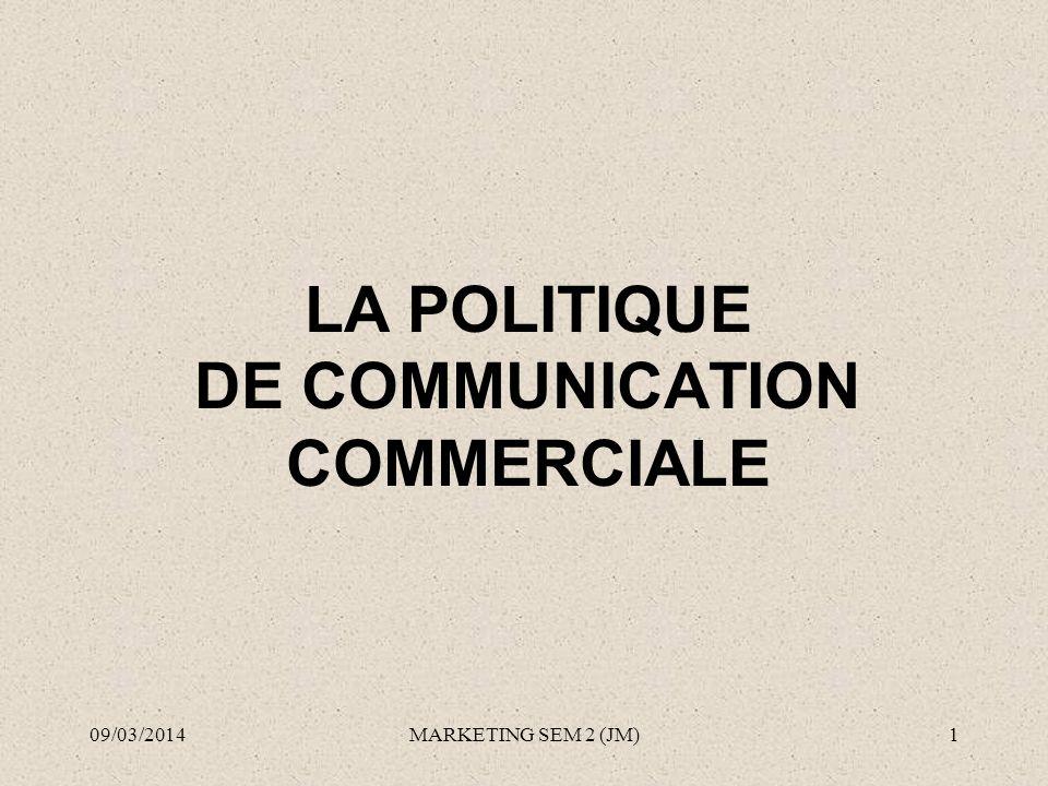 LA POLITIQUE DE COMMUNICATION COMMERCIALE