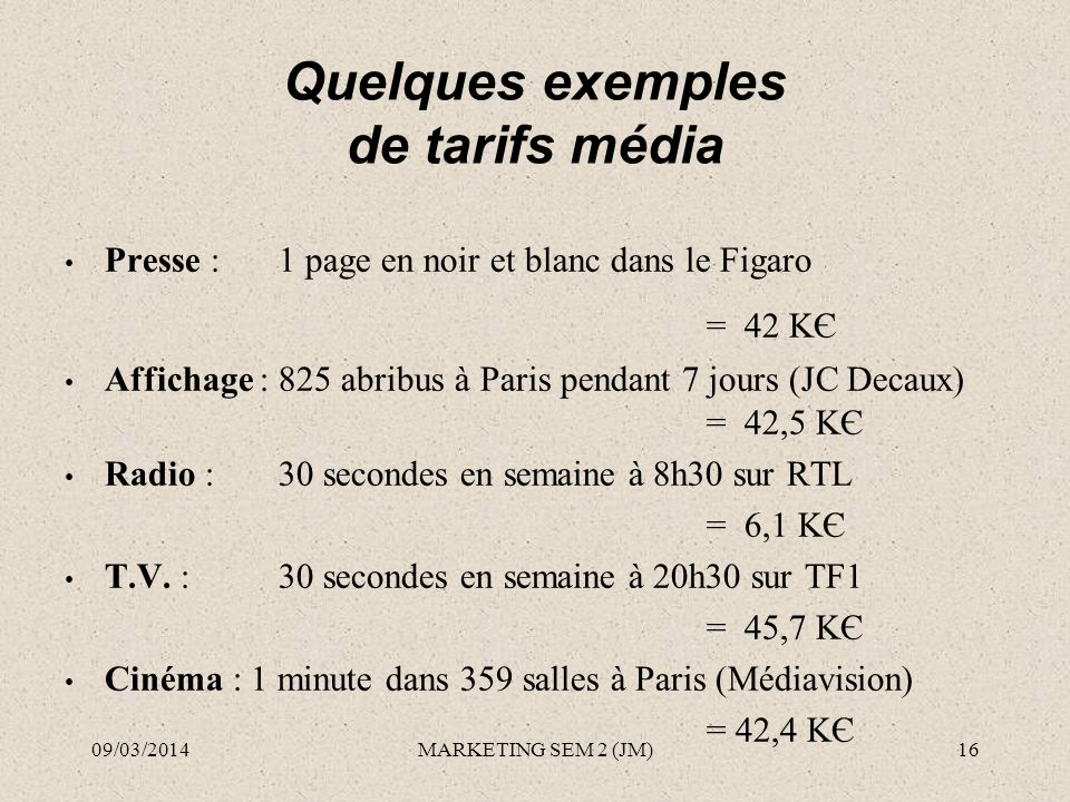 Quelques exemples de tarifs média