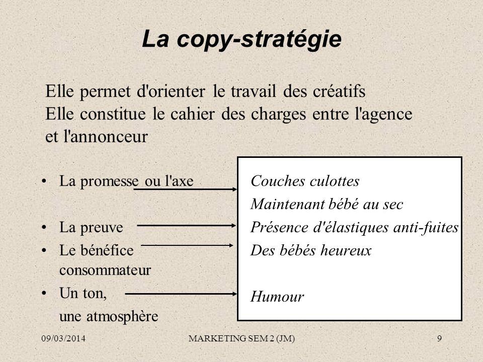 La copy-stratégie Elle permet d orienter le travail des créatifs
