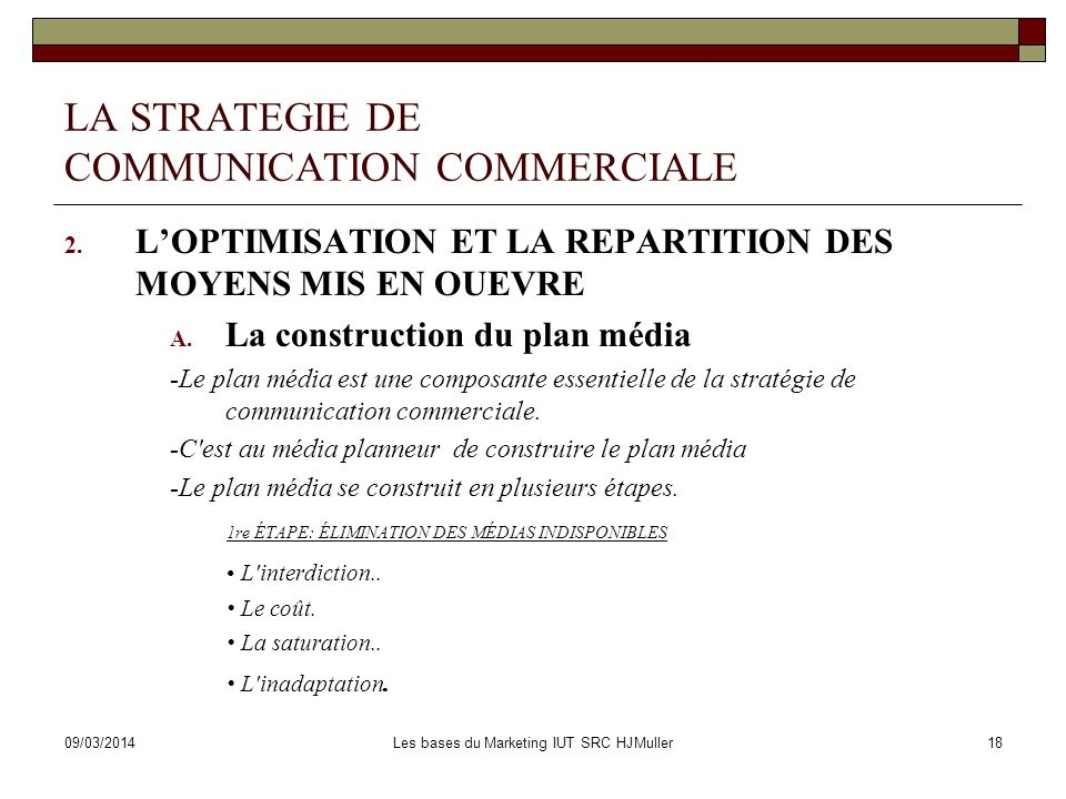LA STRATEGIE DE COMMUNICATION COMMERCIALE
