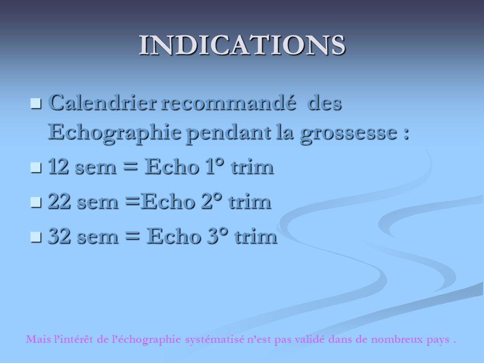 INDICATIONSCalendrier recommandé des Echographie pendant la grossesse : 12 sem = Echo 1° trim. 22 sem =Echo 2° trim.