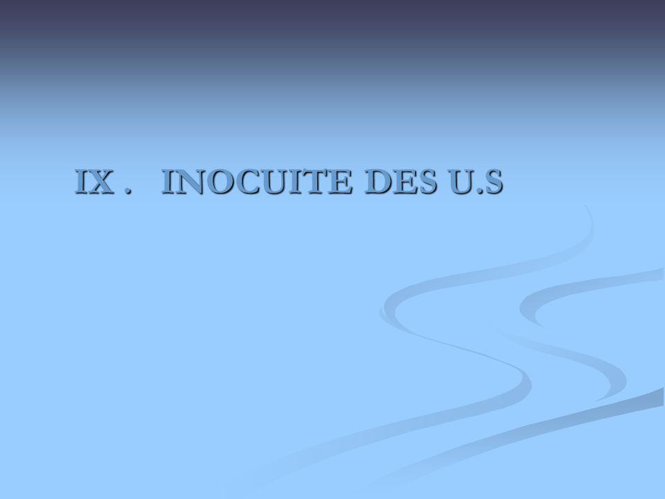 IX . INOCUITE DES U.S