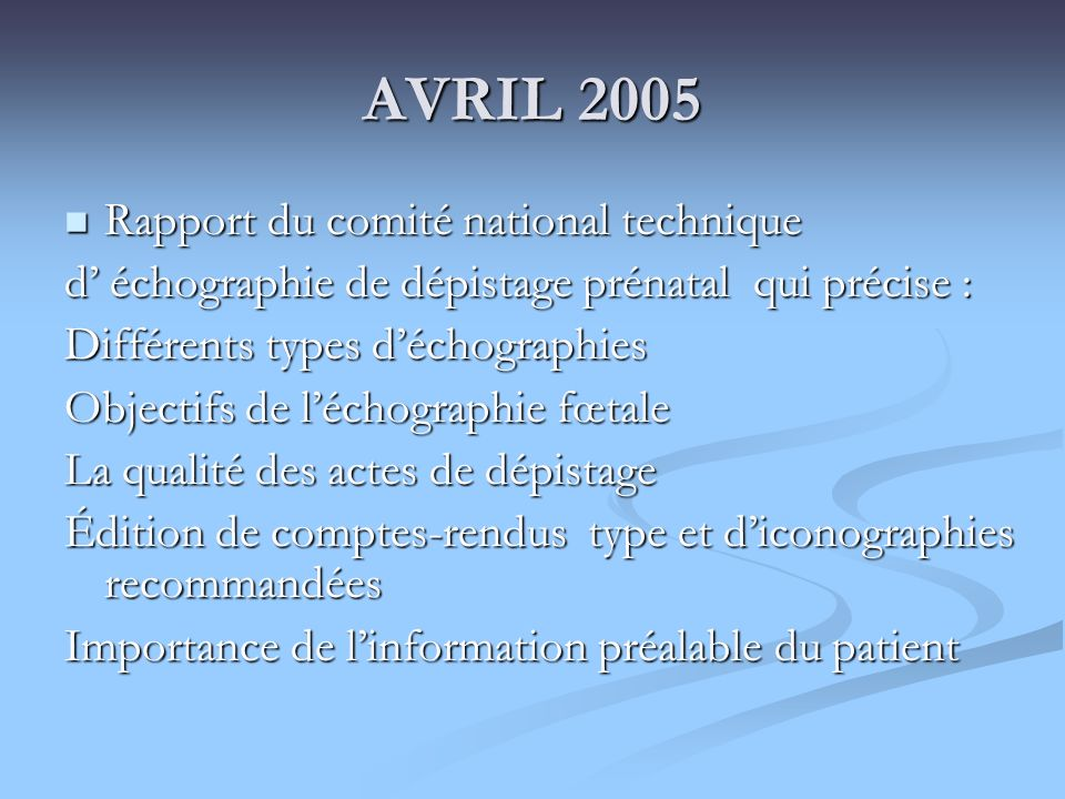 AVRIL 2005 Rapport du comité national technique