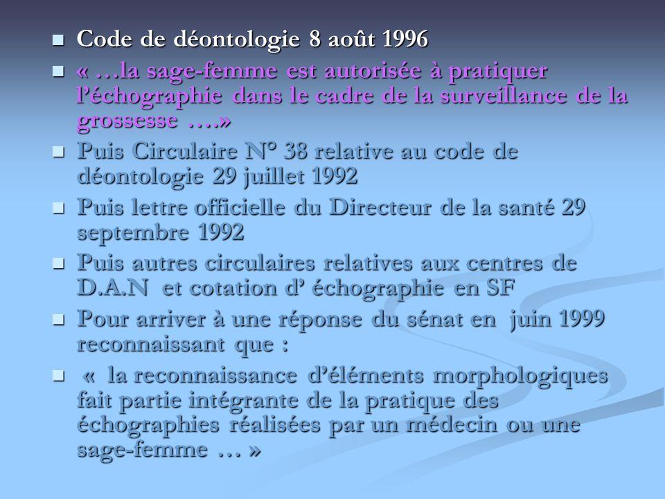 Code de déontologie 8 août 1996