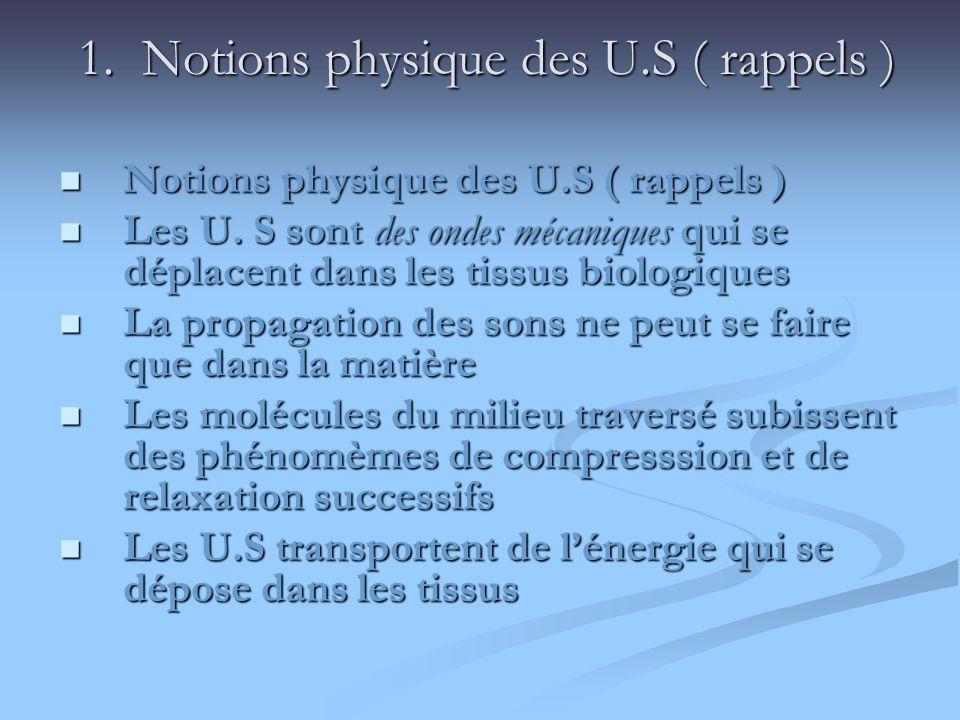 1. Notions physique des U.S ( rappels )