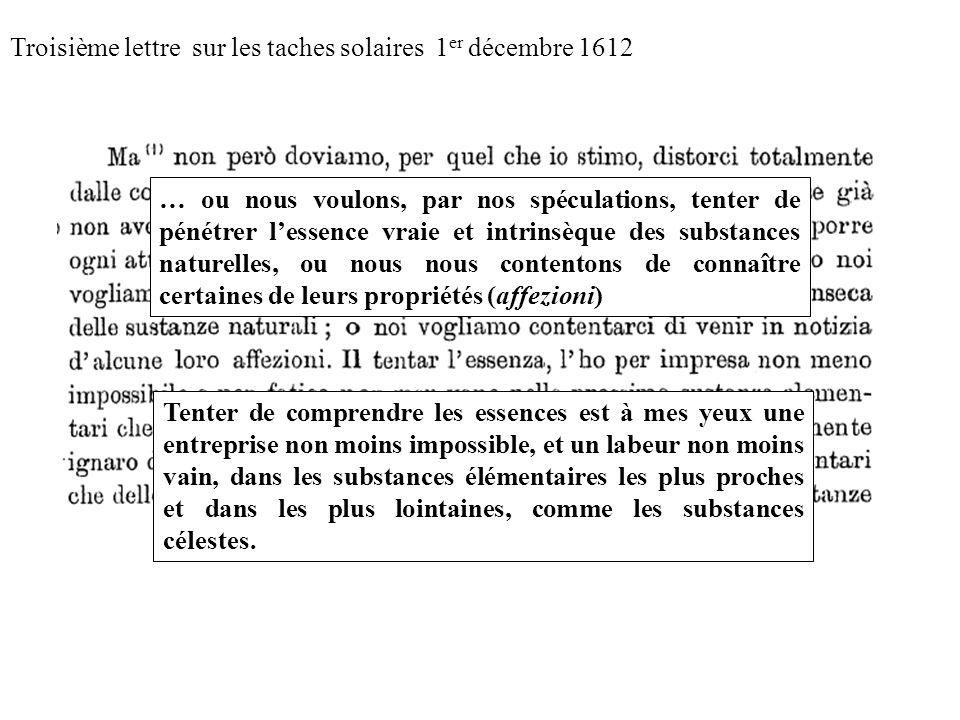 Troisième lettre sur les taches solaires 1er décembre 1612