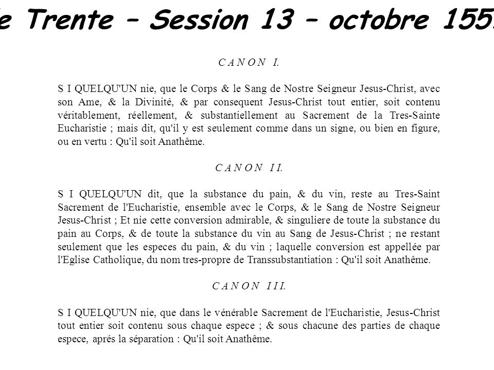 Concile de Trente – Session 13 – octobre 1551