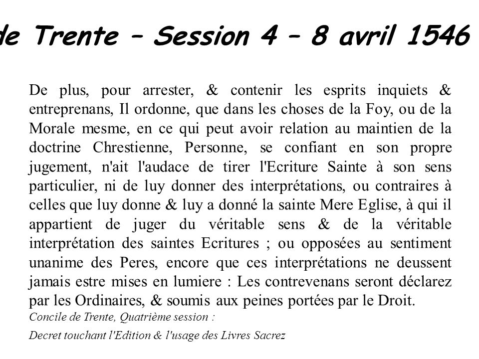 Concile de Trente – Session 4 – 8 avril 1546