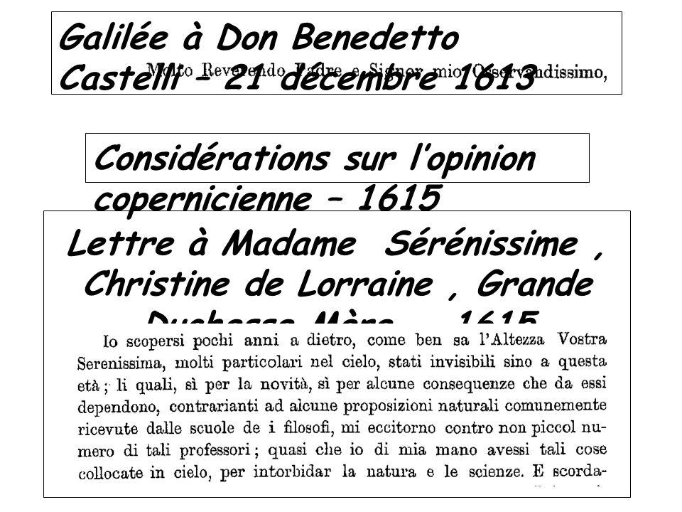 Galilée à Don Benedetto Castelli – 21 décembre 1613