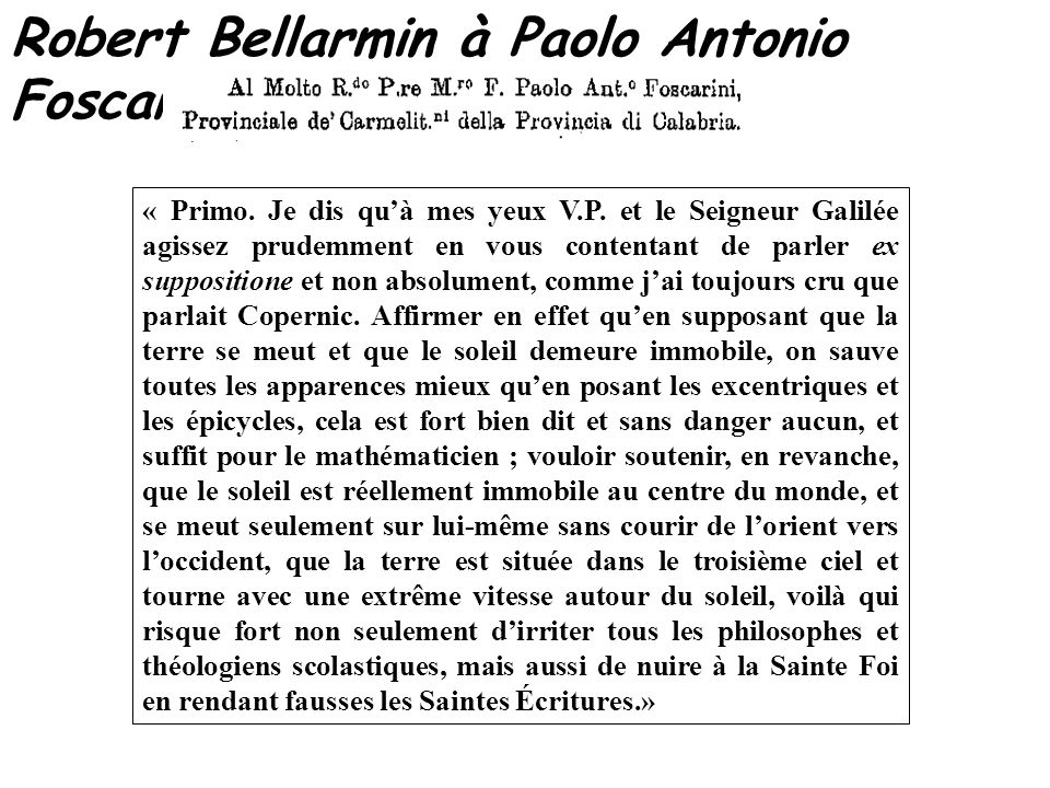 Robert Bellarmin à Paolo Antonio Foscarini – 12 avril 1615