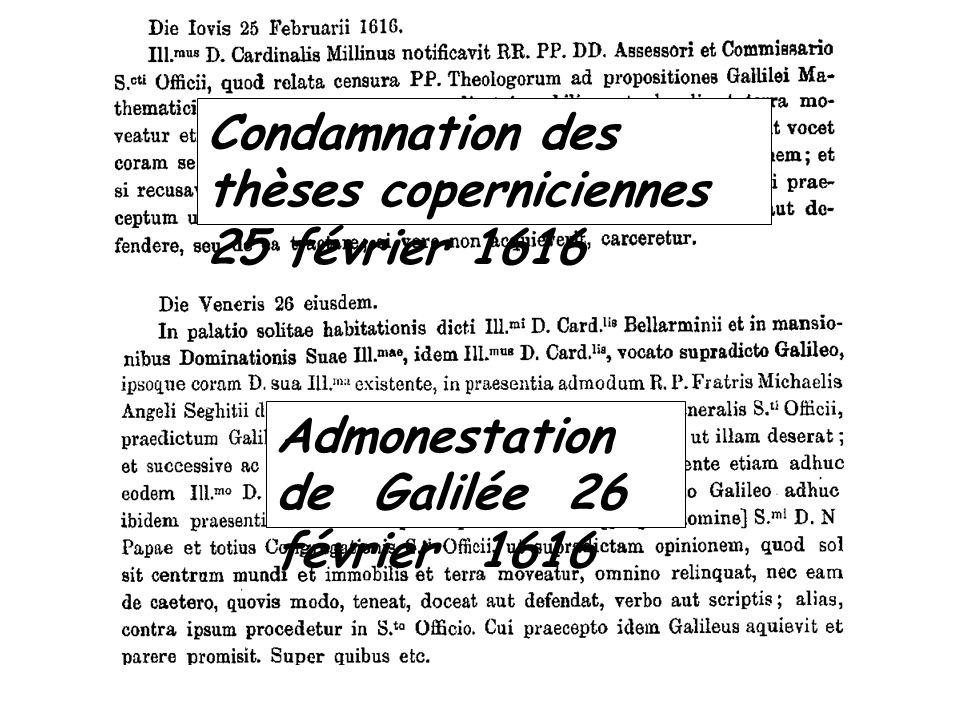 Condamnation des thèses coperniciennes 25 février 1616