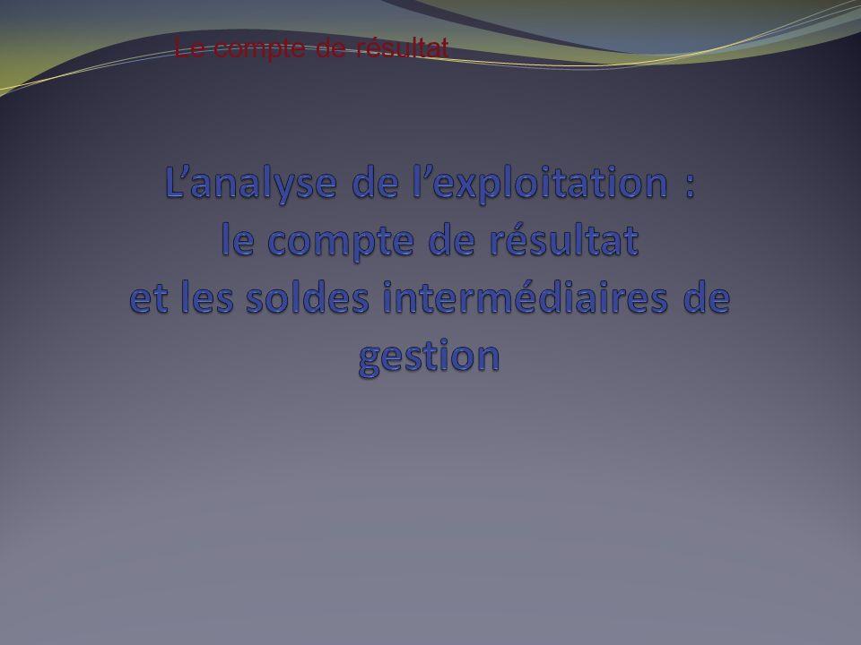 Le compte de résultat L'analyse de l'exploitation : le compte de résultat et les soldes intermédiaires de gestion.