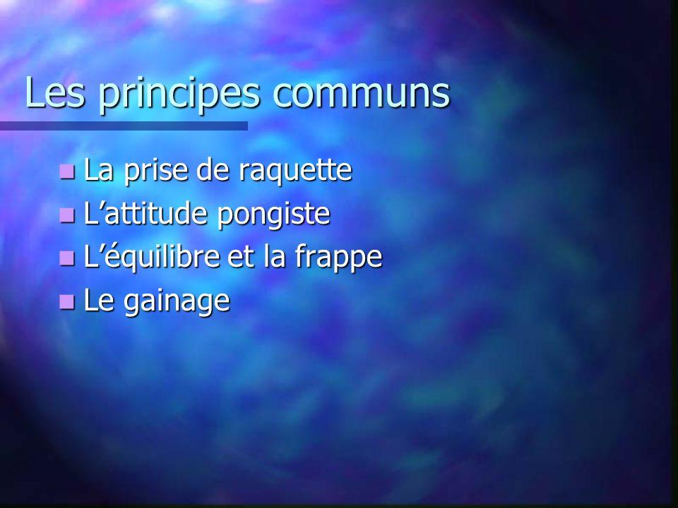 Les principes communs La prise de raquette L'attitude pongiste