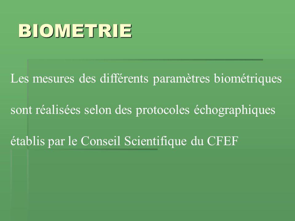 BIOMETRIE sont réalisées selon des protocoles échographiques