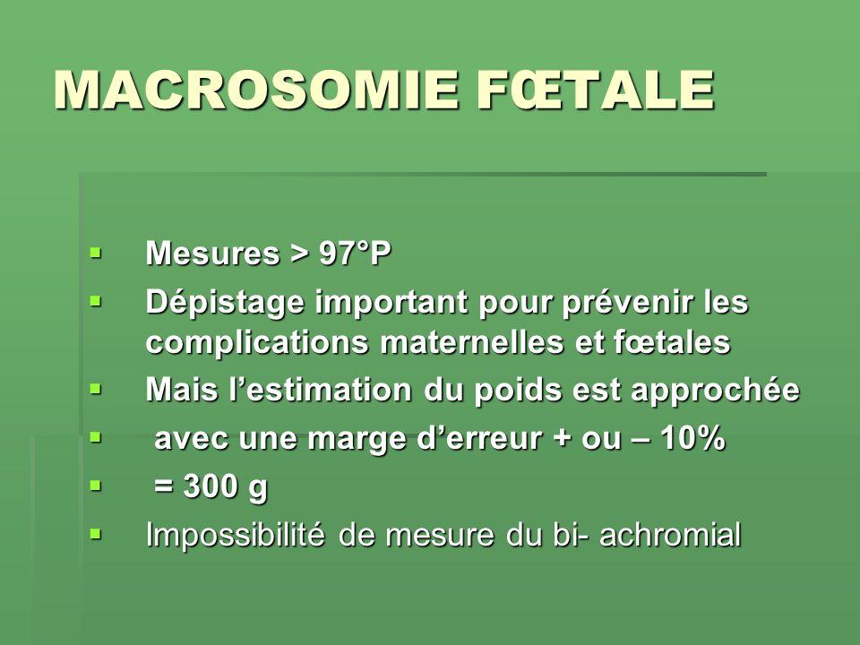 MACROSOMIE FŒTALE Mesures > 97°P