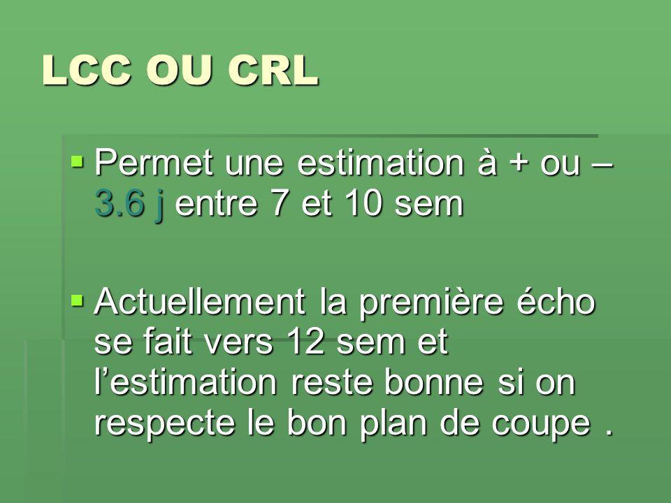 LCC OU CRL Permet une estimation à + ou – 3.6 j entre 7 et 10 sem