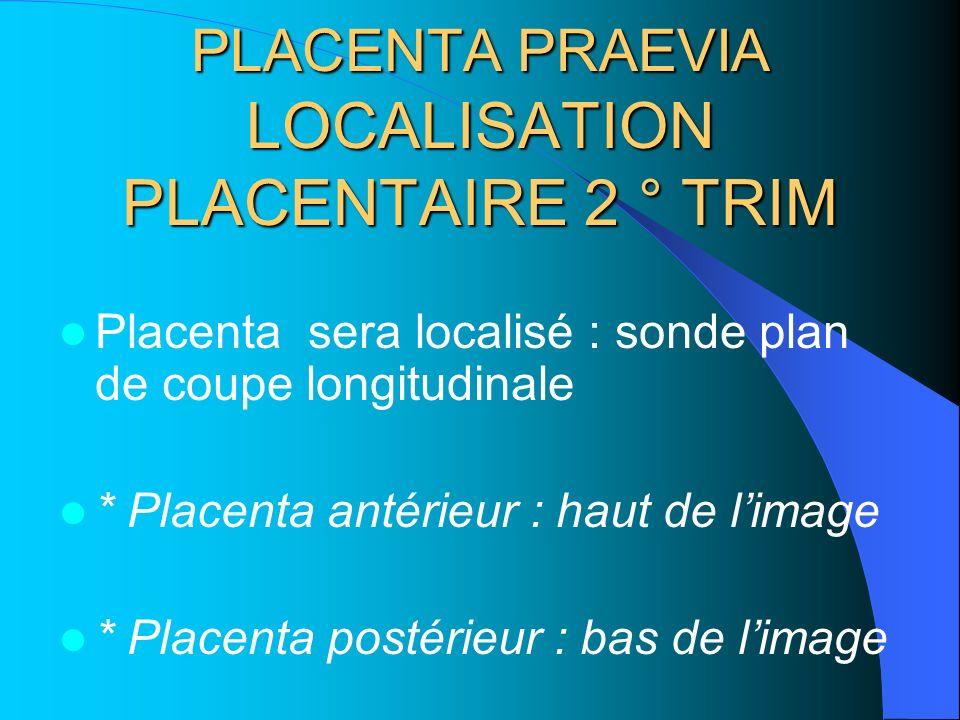 PLACENTA PRAEVIA LOCALISATION PLACENTAIRE 2 ° TRIM
