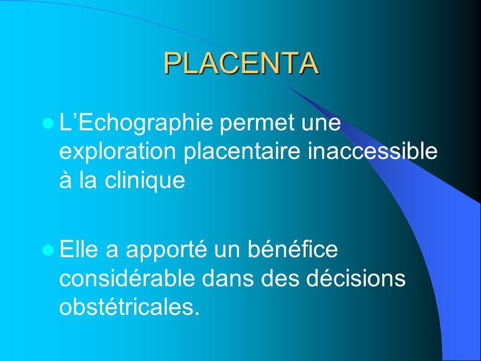 PLACENTA L'Echographie permet une exploration placentaire inaccessible à la clinique.