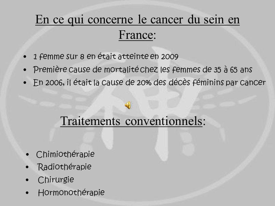 En ce qui concerne le cancer du sein en France: