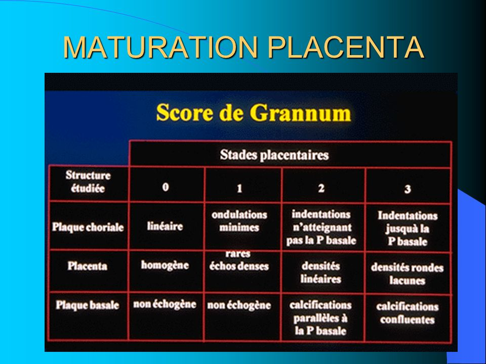 MATURATION PLACENTA