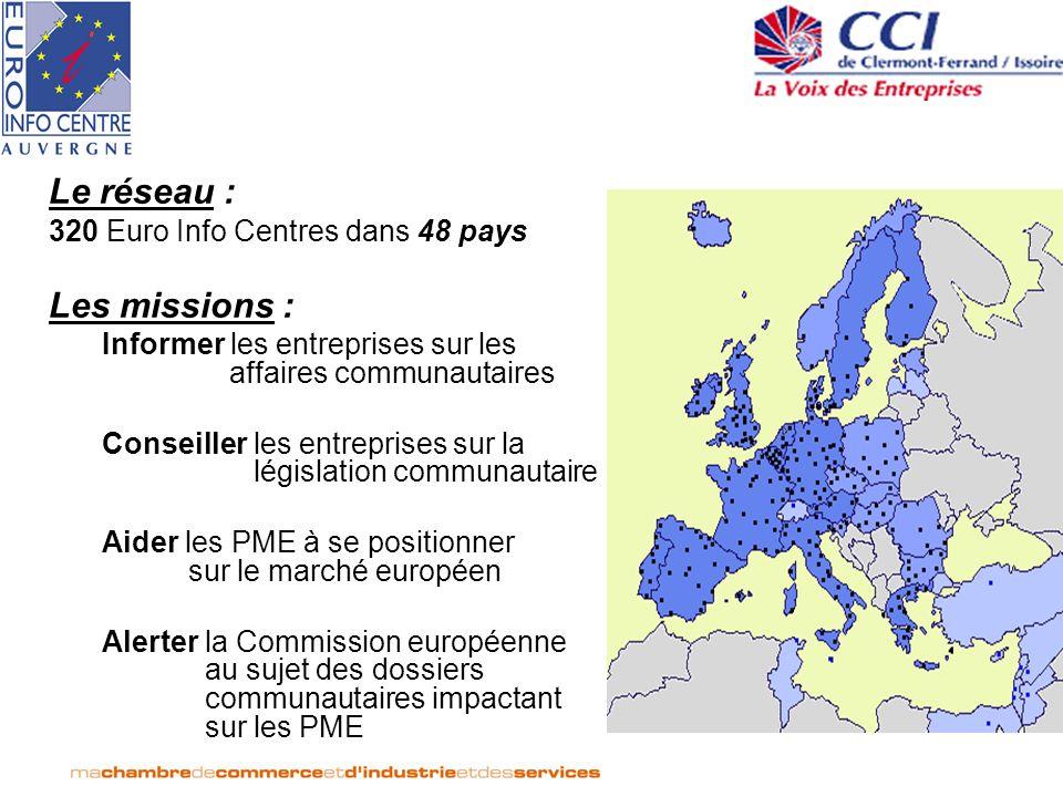 Le réseau : Les missions : 320 Euro Info Centres dans 48 pays