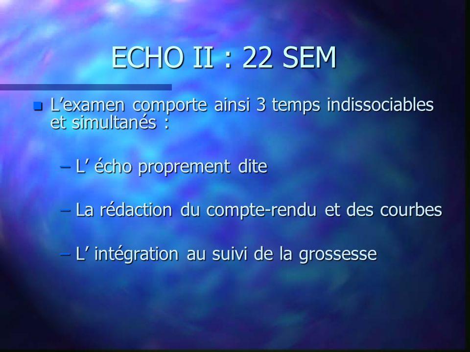 ECHO II : 22 SEM L'examen comporte ainsi 3 temps indissociables et simultanés : L' écho proprement dite.