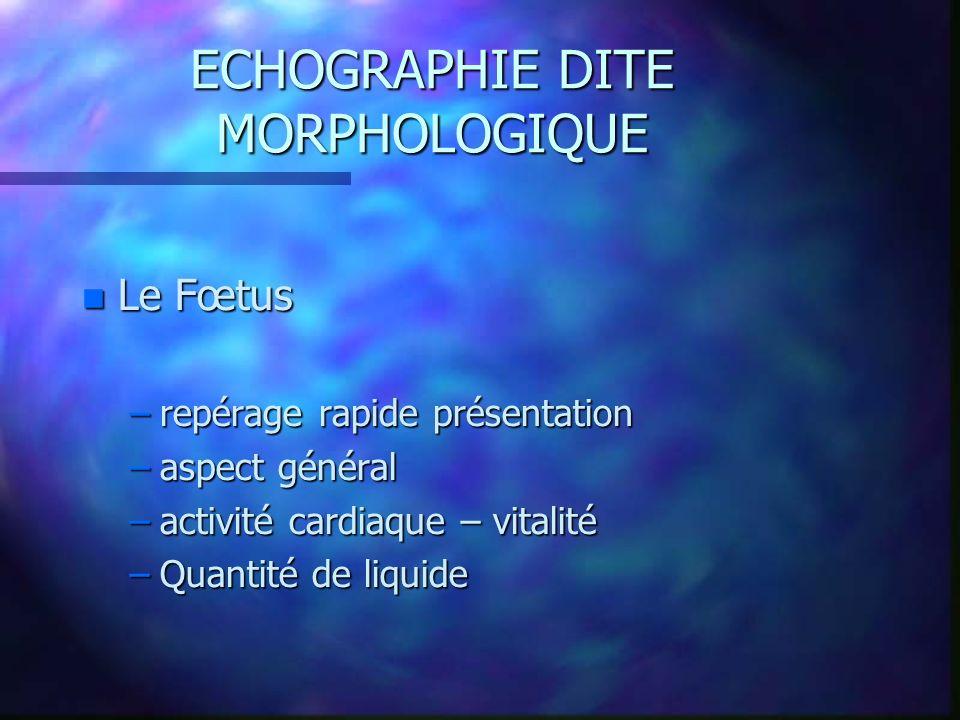 ECHOGRAPHIE DITE MORPHOLOGIQUE